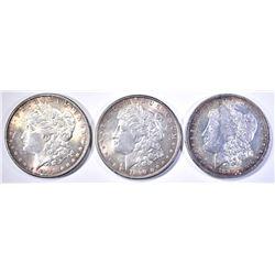 1881-O, 89 & 90 CH BU MORGAN DOLLARS, SOME TONING