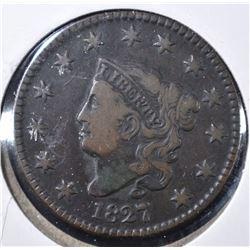 1827 LARGE CENT, VG+