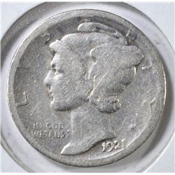1921-D MERCURY DIME, G/VG KEY DATE