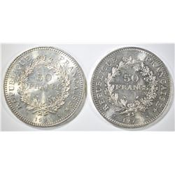 2 - 1977 FRANCE 50 FRANCS AU/BU HERCULES COINS