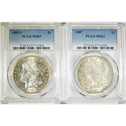1881-S & 1887 PCGS MS-63 MORGAN DOLLARS
