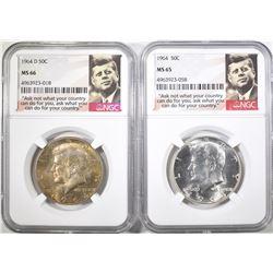 1964 & 64-D KENNEDY HALF DOLLARS, BOTH NGC