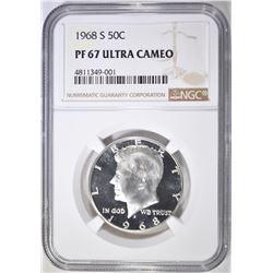 1968-S KENNEDY HALF DOLLAR, NGC PF-67 ULTRA CAMEO