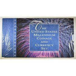 2000 U.S. MINT MILENNIUM COIN & CURRENCY SET