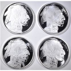 4-BUFFALO/INDIAN ONE OUNCE SILVER ROUNDS