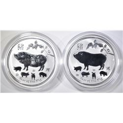 2-2019 AUSTRALIAN 1oz SILVER YEAR OF THE PIG COIN