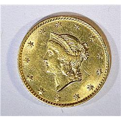 1849 OPEN WREATH GOLD DOLLAR CH BU