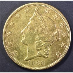 1866 $20.00 GOLD LIBERTY WITH MOTTO, AU+