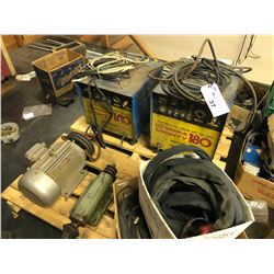 2 MAC SINGLE MIGHTY 180 DC ARGON ARC WELDERS, AND MOTORS/CABLES ON PALLET