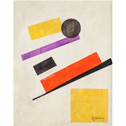 El Lissitzky Russian Suprematist Oil on Canvas