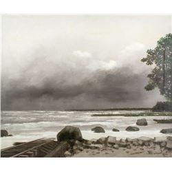 Pierre Gautiez French School Oil on Canvas Coastal