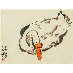 Xu Beihong Chinese 1895-1953 Watercolor Goose
