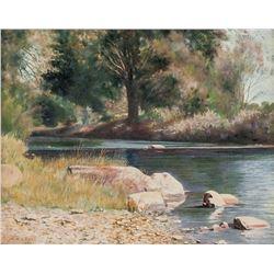 WH Cross 1947 Oil on Canvas Board Landscape