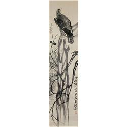 Xu Beihong and Qi Baishi Chinese Ink Paper Scroll