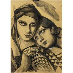 Tamara de Lempicka Polish Art Deco Charcoal Paper