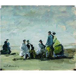 Eugene Boudin French Impressionist Oil on Paper