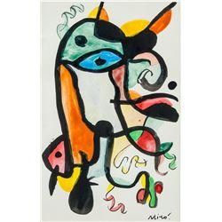 Joan Miro Spanish Surrealist Acrylic on Paper