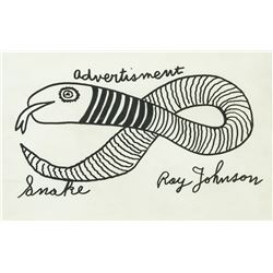 Ray Johnson Ink on Paper Advertisement Snake