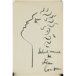 Jean Cocteau French Ink on Paper Inscribed
