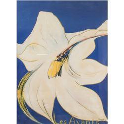 "DASTO ""Les Avants"" Print Dated 1984 White Lily"