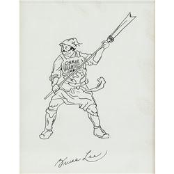 Bruce Lee American Ink on Paper Warrior
