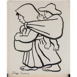Diego Rivera Mexican Modernist Ink on Paper