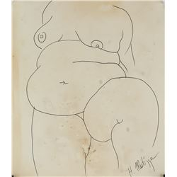 Henri Matisse French Fauvist Nude Ink Drawing COA