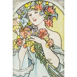 Alphonse Mucha Czech Art Nouveau Mixed Media/Paper