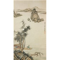 Huang Jun 1775-1850 Chinese Watercolor Scroll