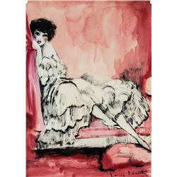 Louis Icart French Art Deco Watercolor on Paper