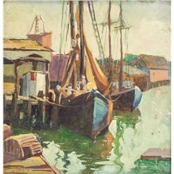 Grace S Clark American School Oil Harbor Scene