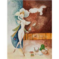 Canadian Watercolor Surrealist Nude Girl 2008