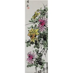 Chinese Watercolor Chrysanthemum Scroll Stamped