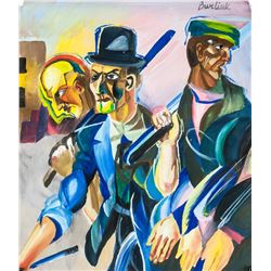 David Burliuk Ukrainian Post Impressionist Gouache