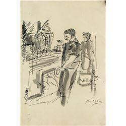 Jules Pascin Bulgarian Pop Art Ink on Paper