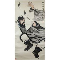 Xin Wu Chinese Watercolor Zhong Kui Scroll