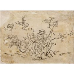 18th Century Chinese Drawing of Monk on Paper