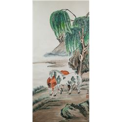 Puzuo 1918-2001 Chinese Watercolor Horses