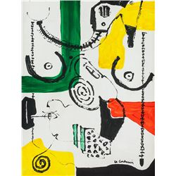 Le Corbusier French-Swiss Modernist Oil on Canvas