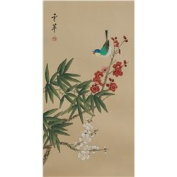 Chinese Watercolor Flower & Birds Signed Inscribed