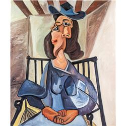 Pablo Picasso Spanish Cubist Oil Inscribed 41.6.18