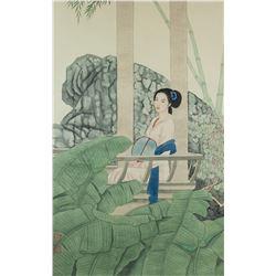 Chinese Watercolor Beauty Silk Scroll Artist Seals