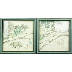 Pair of Chinese Watercolors Rural Landscape