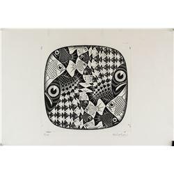 M.C. Escher Dutch Abstract Signed Linocut 3/65