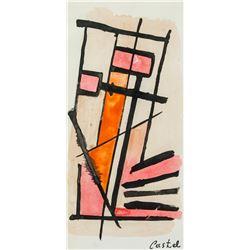 Moshe Castel Israeli Modernist Watercolor on Paper