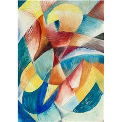 French Paris Cubist School Abstract Acrylic Paper
