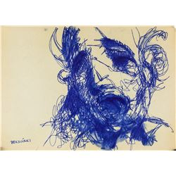 Polish Surrealist Colored Ink Signed Illegibly