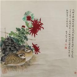 Yu Feian 1888-1959 Chinese Watercolor Birds Scroll