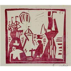 Lyonel Feininger German Expression Signed Woodcut