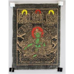 Tibetan Green Tara Tanka Painting